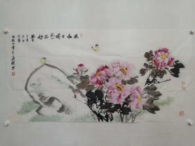 保真书画,北京画院画家,王雪涛纪念馆馆长,著名画家温瑛四尺整纸精美国画一幅,值得珍藏的名家书画作品