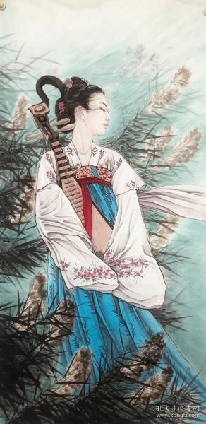 潇立老师,仕女图,芦花恋  可合影收藏