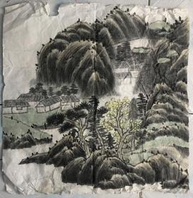 国画 宣纸未裱 水墨画 尺寸:68x68厘米 品相以图为准