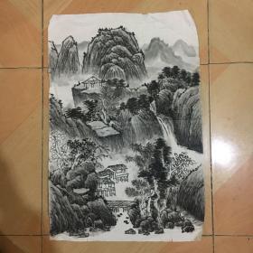 国画 宣纸未裱 水墨画 尺寸:68x46厘米 品相以图为准