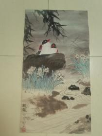 八十年代普州画家李明珣二尺花鸟原作