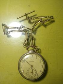 美国大个金壳古董怀表,带表链!直径四十毫米,可以工作,10K金含金量