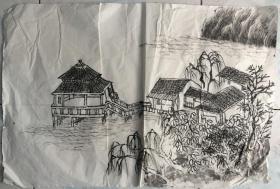 国画 / 宣纸未裱 水墨画 尺寸:68x45厘米 品相以图为准