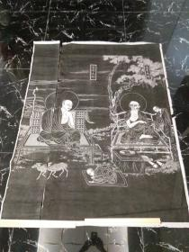 """湖北某寺院佛教题材老拓片""""达摩大师,慧可大师"""",双拼十几个平尺,包快递发货。"""