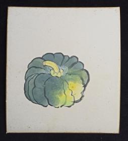 【日本回流】原装精美卡纸 佚名 国画作品《南瓜》一幅(纸本镜心,尺寸:27*24cm)HXTX214057