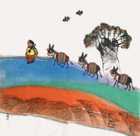 ㊣㊣【取自本人 终身保真】【杨妮娜】中国美术家协会会员,国家一级美术师,中国工笔画学会会员,陕西省美术家协会会员, 延安美术家协会理事。延安中国画学会副会长,延安鲁艺书画院副院长。极具陕北地区丰富多彩的民俗文化和民族风情的作品。斗方6(68×68cm)