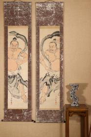 回流字画 回流书画《金刚力士》作者:石田一乡(1867-1937)日本画家,九谷烧陶画工,名久光,早年在京都向田中一华学习绘画,后回到家乡开始把绘画技法运用的九谷烧中。;纸本 日本回流书画 日本回流字画
