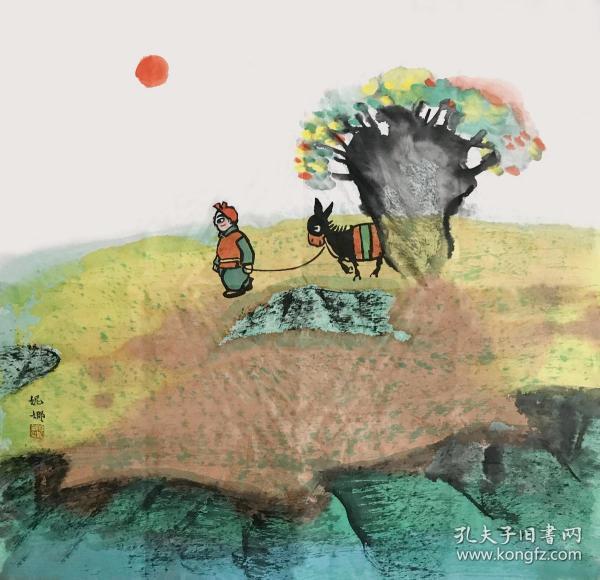 【取自本人 终身保真】【杨妮娜】中国美术家协会会员,国家一级美术师,中国工笔画学会会员,陕西省美术家协会会员, 延安美术家协会理事。延安中国画学会副会长,延安鲁艺书画院副院长。极具陕北地区丰富多彩的民俗文化和民族风情的作品。斗方8(68×68cm)。