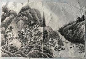 国画 宣纸未裱  水墨画 尺寸:68x45厘米 品相以图为准