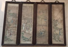 """清代画家改琦绘或佚名绘""""红楼梦人物故事""""绢画四条屏"""