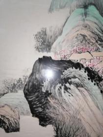 1967年安徽桐城画家余伟(唐云张大千的好朋友)《青绿山水人家》3平尺左右。