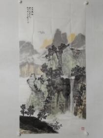 保真书画,当代优秀画家郭德昌四尺整纸山水画一幅136×69cm