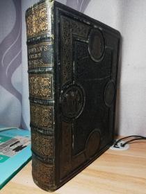 1867年版The Select Works of John BUNYAN 《约翰班扬选集》 厚册775页 100幅木刻版画 全皮雕刻装帧 三面刷金 28.8X22.5X6.6CM