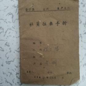1964年普宁公社生产大队手折