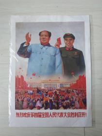 文革时期毛主席,林彪庆祝四届人大宣传画