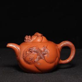 台湾回流老紫砂壶清代老茶壶朱可心制朱泥全手工鱼化龙壶