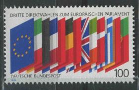 德国邮票 西德 1989年 欧洲议会第三次直接选举 国旗 1全新