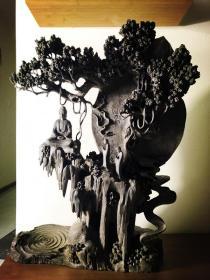 """阴沉木根雕艺术,特大阴沉木根雕艺术,阴沉木根雕""""求佛"""",""""佛陀讲法会"""",乌木根雕,东方神木根雕,极品收藏,拜访客厅首选收藏,可做镇宅之宝,保佑全家平安幸福"""