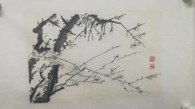 早期荣宝斋木板水印画《墨梅》