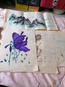 8开4张合售<早期著名画家刘文斌手绘画稿>磊20号