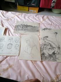 4张合售<早期著名画家刘文斌手绘画稿一铅笔画>磊22号