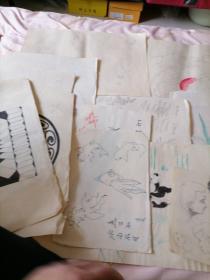 12张合售<早期著名画家刘文斌手绘图案设计稿>磊25号
