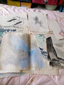 一堆合售<早期著名画家刘文斌练习稿>磊26号