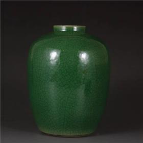 清翡翠绿釉枣子罐