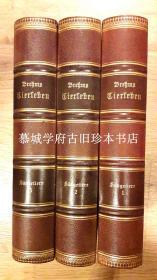 1890年版/皮装/三面书口大理石纹/59幅全页黑白、彩色凹版石印、438木刻插图本/德国动物描写名著《布莱曼讲动物世界/哺乳动物篇》三册(全) BREHMS TIERLEBEN - DIE SÄUGTIERE