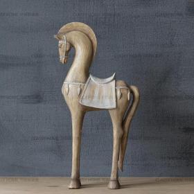 美式乡村尼古拉复古抽象马,仿旧雕塑法式田园高级桌面摆件现代工艺