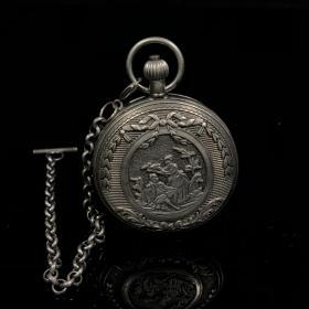 国外回流白铜双开机械怀表,怀表直径5.5厘米,厚2厘米,重180克