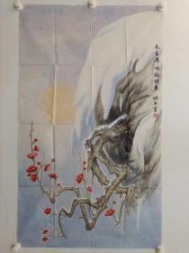 保真,画家李娇英创作毛主席咏梅诗意图一幅,尺寸113×67 cm