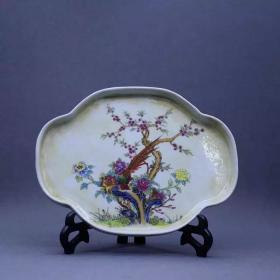 降彩海棠花鸟茶盘
