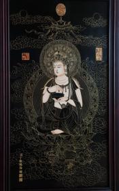 清乾隆三希堂精鉴宫廷用描金水月观音漆画