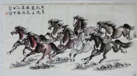 纯手绘字画国画八骏图 包老 编号09402