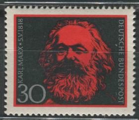 德国邮票 西德 1968年 卡尔·马克思诞生150周年 雕刻版 1全新