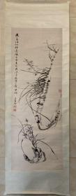 文物公司旧藏 清代江苏南京篆刻名家、书画家 仇欣 幽兰图 纸本镜片 文物公司旧裱,干净平整