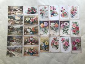 五十年代外国彩色明信片33张,基本为花卉图案,M004