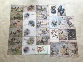 五十年代外国彩色明信片29张,基本为麻雀图案,M001