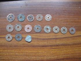 康熙通宝、乾隆通宝、道光通宝、嘉庆通宝、丝绸古币等14枚老钱币合拍