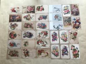 五十年代外国彩色明信片51张,基本为花卉图案,M002
