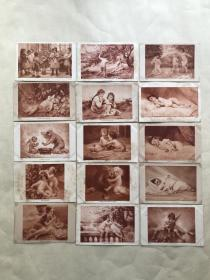 民国时期外国明信片15张,基本为儿童图案,M006