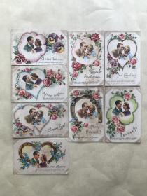 五十年代外国彩色明信片8张,基本为情侣图案,婚庆题材,M008