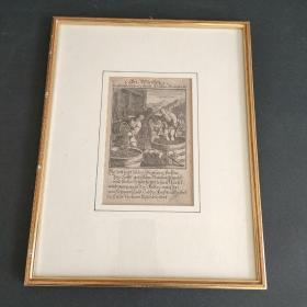1711年德文铜版画(带框)
