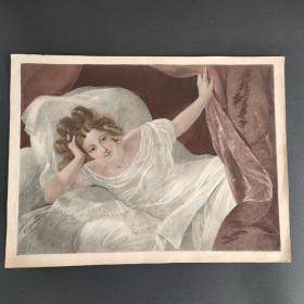 19世纪法国铜版画 手工上色