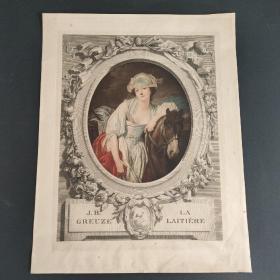 19世纪法国石印手工上色版画