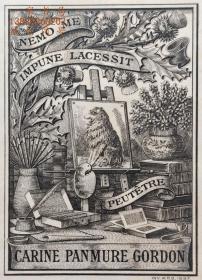 """""""限量260编号""""""""英皇御用铜版雕刻大师""""巴雷特W.P.Barrett铜版藏书票/《书房一角的画板》高档犊皮纸 1897"""