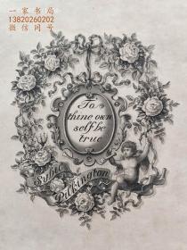 """""""限量260编号""""""""英皇御用铜版雕刻大师""""巴雷特W.P.Barrett铜版藏书票/《玫瑰与天使》高档犊皮纸 1900"""