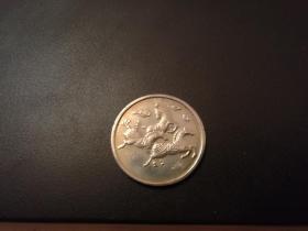 2002年纪念币【耀马争春】沈阳造币厂,3.3*3.3厘米,实物拍照详见描述