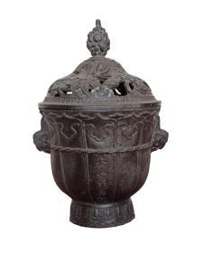 古玩收藏  铁器  铁熏炉  尺寸长宽高:13/11/19厘米,重量:2.76斤